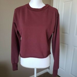 Windsor Nancy Cozy Cropped Sweatshirt Burgundy S/M